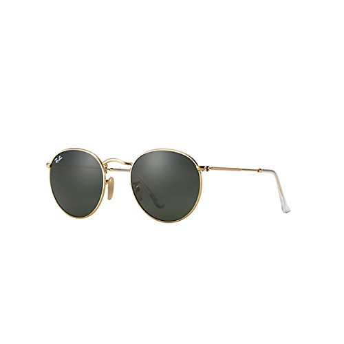 Ray-Ban Uomo Round Metal Occhiali da sole, Multicolore (Dorado / Crystal Green), 50