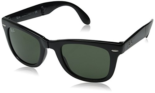 Ray-Ban RB4105 Folding Wayfarer, Occhiali da sole da uomo, Nero (Black 601), S
