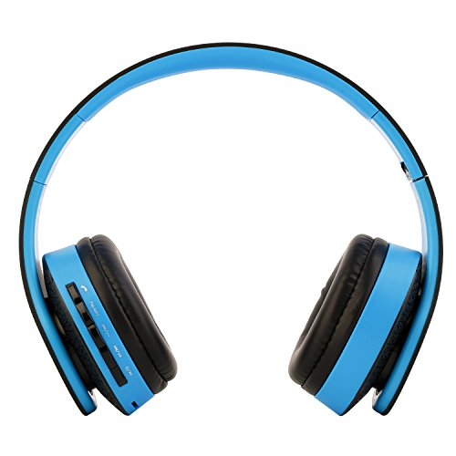 Tsing Cuffie Wireless Headphone Stereo Bluetooth con Microfono Incorporato Cuffie Stereo MF/Mp3 con 3.5mm Jack per Smartphone, iPhone, Tablet,iPad ecc. (Nero-Azzurro)