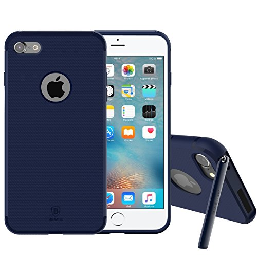 iPhone 7 Custodia, IVSO Ultra Sottile Silicone Protettiva Case Cover Custodia con auto stand per Apple iPhone 7 (Blu)