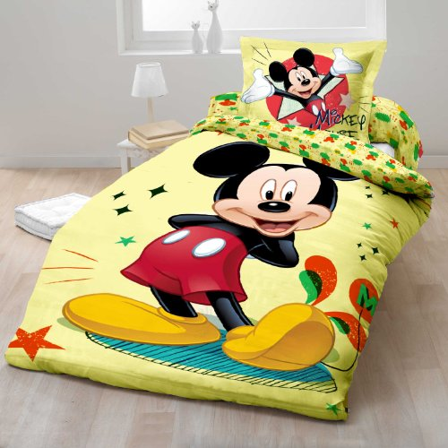sacco copripiumino cotone disney mickey mouse topolino singolo 140x200 cm federa 70x90 cm una. Black Bedroom Furniture Sets. Home Design Ideas