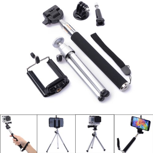 3in1 Accessori Selfie Monopiede telescopico + Mini Treppiedi + Telefono Supporto Per iPhone 5S 5 Galaxy S5 S4 GoPro Hero 2 3 3+ 4 OS091