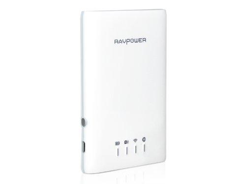 [4-in-1] RAVPower® Wi-Fi Disk RP-WD01, Lettore Wireless per SD Card / Chiavetta USB / Hard Disk + WLAN Hot Spot Portatile + Batteria Esterna 3000mAh + NAS File Server