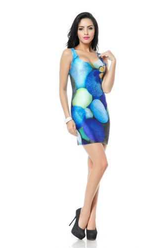 Kaily Vestito delle donne di modo sottile animal print Short (prendisole) (farfalla)