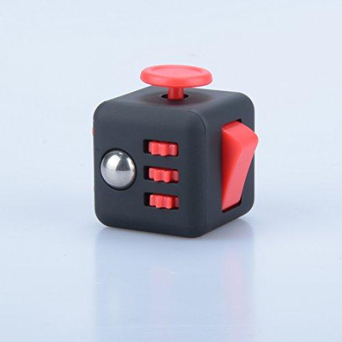 Fidget Spinner, Premium Hybrid Si3N4 Teniendo Tri-Spinner Fidget Spinning Toys Mata Tiempo Alivia el Estrés (Cubo Rojo Negro)