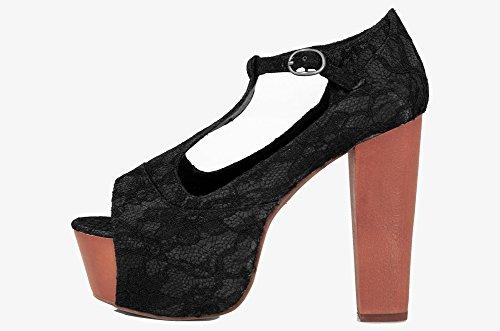 Jeffrey Campbell Foxy Lace Black Wood Sandal - Sandali Neri in Pizzo tacco legno