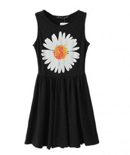 EOZY 1 Abito Vestito da Donna in Cotone Nero Disegno Sole-Fiore senza Maniche-Girocollo (EU size 34(S))
