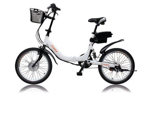 """E!Legal - Bicicletta elettrica FLEXX 20"""" pieghevole, trasmissione a cinghia, 3 velocità Shimano, sospensione posteriore, tubo della sella LightSKIN, 250 W, 36 V, 9 Ah"""