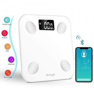 Bilancia Pesapersone Digitale, Bilancia Diagnostica Tecnologia Step-on Peso corporeo, grasso corporeo, acqua, massa muscolare, BMI, BMR, massa ossea e grasso viscerale (IOS Android Devices)