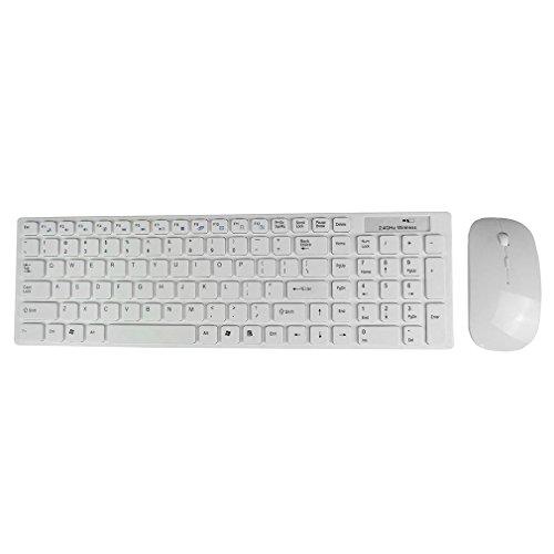 Tsing  kit Tastiera Mouse Bluetooth Tastiera Multimediale 2.4GHz Ultra-sottile e Mouse Wireless Tastiera Wireless + Mouse Senza Fili per Windows / Mac IOS / Android Bianco