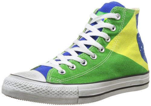 Converse, All Star HI GrapHIcs, Sneaker unisex - adulto, Multicolore (Brasil Flag Stone Washed), 39