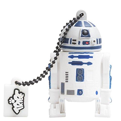 Tribe FD007507 Disney Star Wars Pendrive 16 GB Simpatiche Chiavette USB Flash Drive 2.0 Memory Stick Archiviazione Dati, Portachiavi, R2-D2 (C1-P8), Bianco