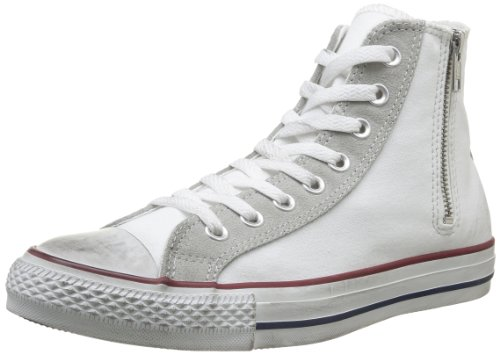 Converse, All Star HI Side ZIP Canvas, Sneaker unisex - adulto, Bianco (OP.White/Light Grey Distressed), 39