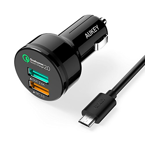 AUKEY® Caricabatteria per auto, 30W due porte Car Charger, 1 Output 2.4A + 1 Quick Charge 2.0 supporto per Samsung GALAXY S6 /S6 edge / Note 4, HTC One M9 / Google Nexus 6 / Sony Xperia Tablet Z2, con un Micro USB cavo 1 metro (Nero)