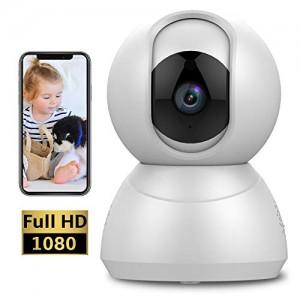Camera IP Wifi 1080p Telecamera di Sorveglianza con Rotazione a 360°, Visione Notturna, Audio-Bidirezionale, Notifiche di Movimento, Servizio Cloud - App iOS/Android