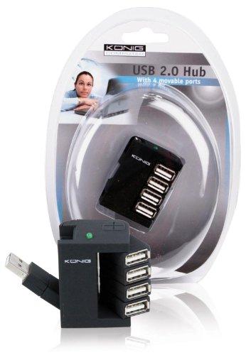 Konig CMP-USB2HUB14 USB 2.0 Hub, 4 Port, Nero/Antracite
