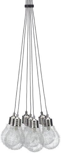 Trio-Leuchten 313610707 JoJo Lampadario in nichel opaco e vetro trasparente, circondato di alluminio intrecciato