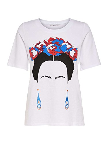 Only Onlkarla S/s Jrs, T-Shirt Donna, Bianco (White Detail: Frida Kahlo-Red/Blue), 44 (Taglia Produttore: Medium)