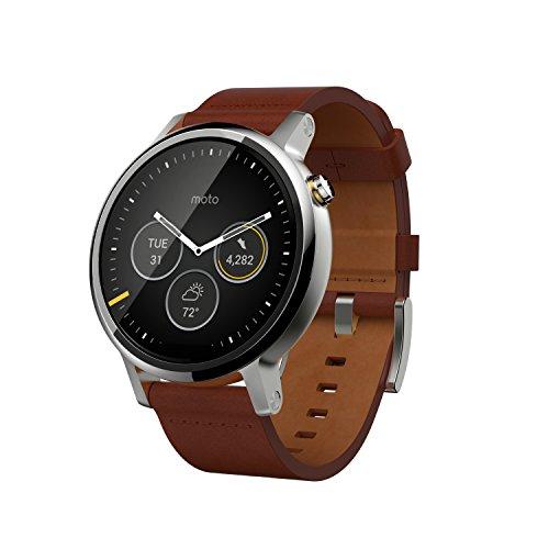 Motorola Moto 360 (2a generazione), Smartwatch, 46 mm, Display 1.56 pollici, Memoria 4 GB, 512 MB RAM, Cinturino in pelle, Cognac