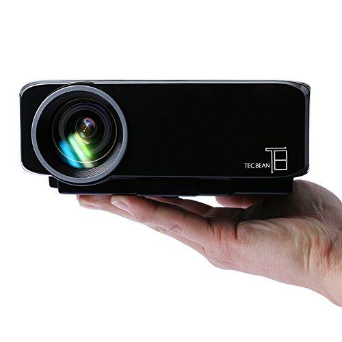 TEC.BEAN Mini Lettore Portatile Proiettore LED con Connettivtà USB VGA HDMI AV SCHEDA e Riproduzione Diretta