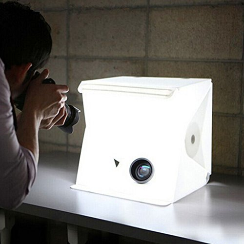 AUTOPKIO Pieghevole portatile ID Studio con illuminazione a LED, tent photography kits la fotografia di illuminazione kit tenda 23 centimetri x 24 centimetri / 9.06 x 9.45 pollici