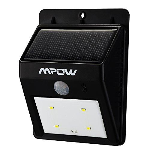 Mpow® Luci Solari Lampada Wireless ad Energia Solare da Esterno 4 LED con Sensore di Movimento per Cortile, Giardino, Casa, Passo Carraio, Scale, Fuori Muro