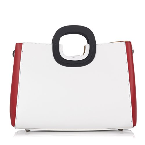 Laura Moretti - Borsa in pelle Bicolor con borsa interna estraibile
