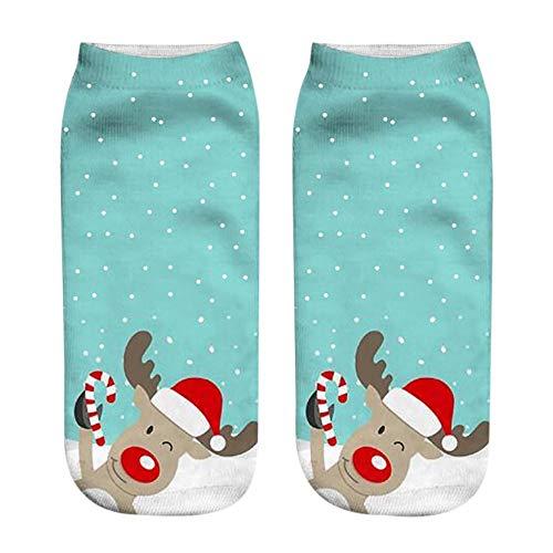Calzini di Natale, Calzini Donna Divertenti Inverno 3D Stampa di Fumetto Buon Natale Babbo Natale Renna Fantasia Calze Antiscivolo Unisex Calze di Natale Regali di Capodanno