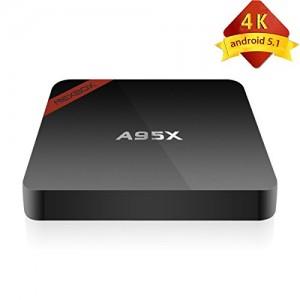 Daping TV Box Android 5.1 NEXBOX A95X Quad Core 4K HD + 3D 64 Bit Amlogic S905Mini Smart TV BOX 1G + 8G Multimedia Colore Nero