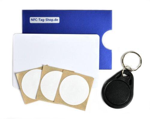 6 NFC Tags set di base small |adesivi NFC, portachiavi NFC, schede NFC, involucro protettivo per schede NFC| tra l'altro per Samsung Galaxy S4, Google Nexus 4, BlackBerry