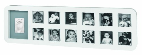 Baby Art 34120085 - Cornice per 12 foto e impronta del piedino o manina del bebè, colore: Bianco-Grigio