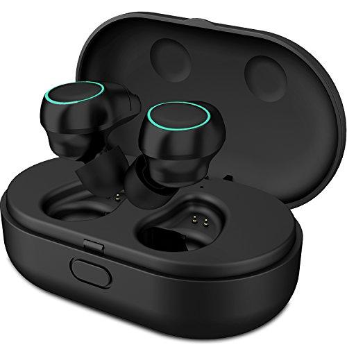 Holyhigh Auricolari Bluetooth Wireless Cuffie Sport Bluetooth V5.0 Mini Stereo Cuffie Wireless Senza Fili con Stazione di Ricarica e Microfono Incorporato per iPhone Samsung Huawei