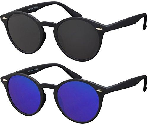 Originale La Optica UV400 Occhiali da Sole Unisex Specchiata Rotondi - Confezione Doppia Gommata Nero (Lenti: 1 x Grigio, 1 x Blu specchiato)