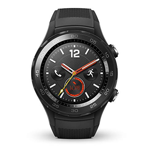 Huawei Watch 2 Smartwatch, 4G/LTE, 4 GB Rom, Android Wear, Bluetooth, WiFi, Monitoraggio della frequenza cardiaca, Nero (Carbon Black)