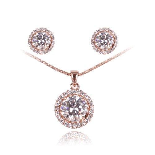 Fashion Plaza - Parure collana e orecchini Swarovski, zirconia cubica e diamante sintetico, placcato in oro rosa 18k