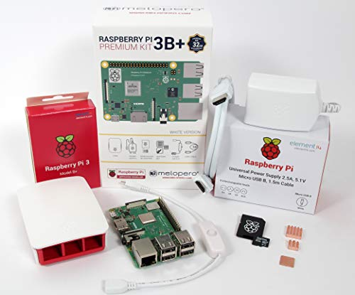 Melopero Raspberry Pi 3 Model B+ Official Premium Kit White 32GB (with Raspbian)
