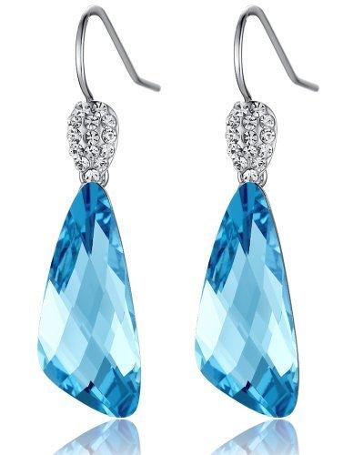 Orecchini Donna, Ala, Cristallo austriaco realizzati con elementi Swarovski Blu 1074401