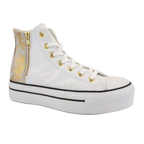 Converse Chuck Taylor Platform Zip 540255C Womens Laced & Zip Leather Platform Trainers White - 5