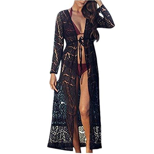 beautyjourney Copricostume mare donna lungo estate pizzo - abito donna lungo elegante vestiti vestito donna estivo lungo costumi Bikini costume Donna - Cover Up pizzo Kimono (L, Nero)