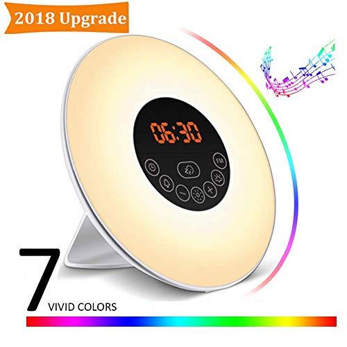 Wake up Light, PrimeWeek Sveglia Alba Allarme Luminoso con Simulazione Alba, Luce Notturna Touch Control con 6 Suoni Allarme Naturale, Radio FM e Luce 7 Colori, 10 Livelli di Luminosità