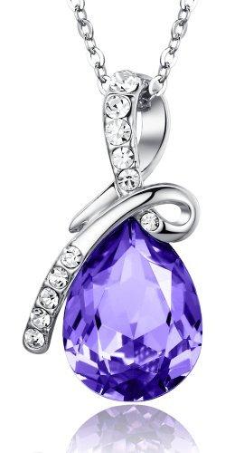 Ciondolo a goccia Amore Eterno, Lacrima in Cristallo austriaco realizzati con elementi Swarovski, Collana con pendente da donna - porpora Grande cristallo di 45cm 2101802