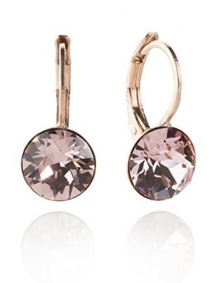 Eleganti orecchini con Swarovski Elements, in oro rosa con taglio a brillante, disponibili in molti colori, colore rosa Rosa - Light Rose Taglia unica