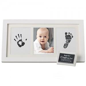 Bubzi Co Cornice con impronta bimbo – Kit per impronte dei piedini e delle manine dei bebé in inchiostro - Il regalo bimbo perfetto con cornice in legno di qualità – Set impronte bimbi