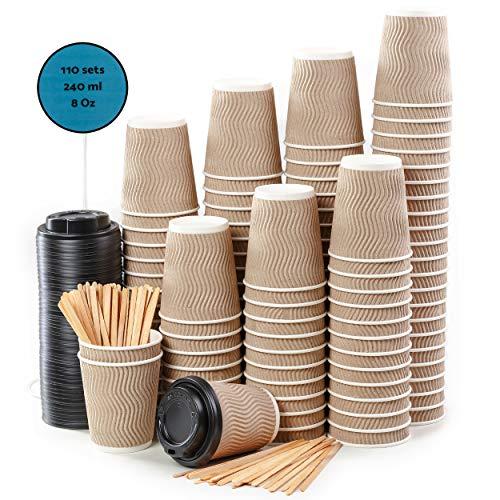 110 Bicchieri Carta a Doppia Parete Kraft Ripple per Prendere il Caffè – Tazza con Coperchio di 8 Oncia per Prendere il Caffè con le Stiratrici di Legno per il Prendere il Caffè, il Tè, le Bevande Cal