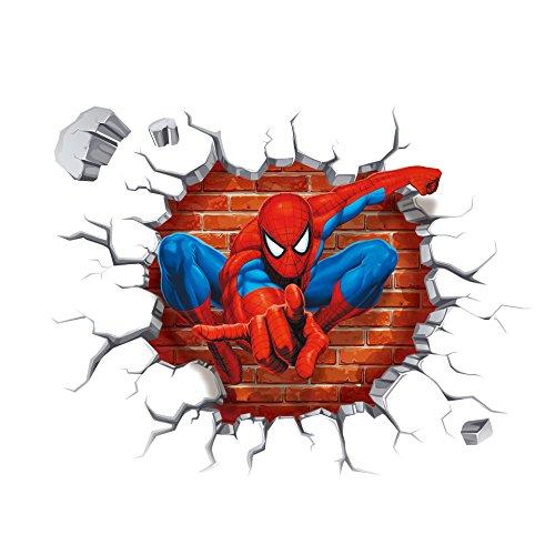 Adesivi per pareti creativa 3D Spider Man Croce Oggettistica per la casa Stickers impermeabile impermeabile bambini Camera da letto Soggiorno Wallpaper sfondo estraibile
