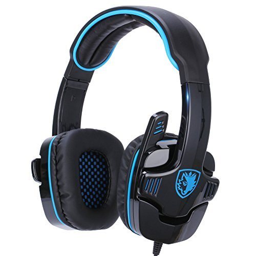 GHB Sades SA-708 Cuffie da gioco Gaming Headphone Stereo HIFI con microfono, Jack 3.5mm Controllo Volume per PC Notebook Ipad Ipod MP3 Tablet ecc, Nero Blu