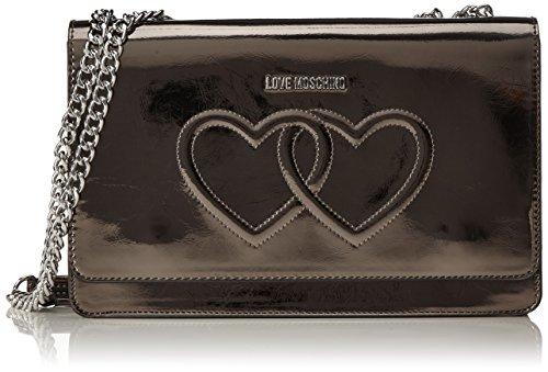 Love Moschino Borsa Metal Pu Fucile - Borse a spalla Donna, Silber (Metal), 17x28x6 cm (B x H T)