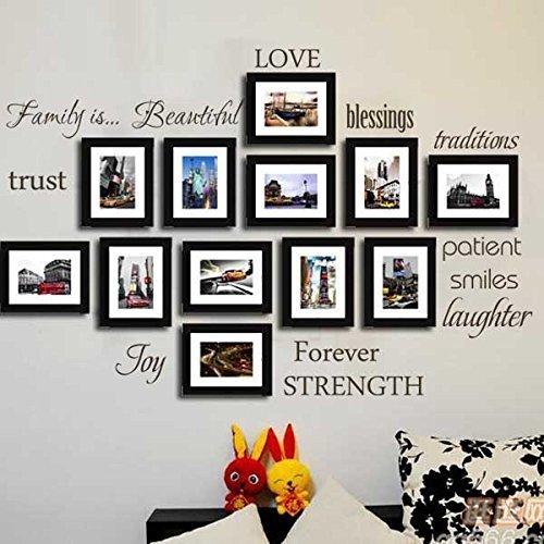 Serie di 12 famiglia parole muro decalcomania citare vinile serie amore fiducia benedizione sorriso foto muro adesivo spazio arte decorativa (foto e quadri non sono inclusi nel prodotto)