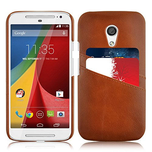 JAMMYLIZARD | Custodia Back Cover in Pelle per Motorola Moto G 2014 , MARRONE