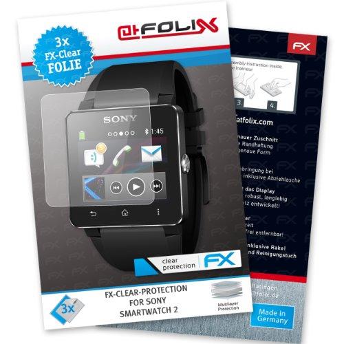 atFoliX FX-Clear Pellicola protettiva per Sony Smartwatch 2 (3 pezzi) - Pellicola protettiva trasparente!